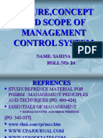 Nature,Concept and Scope of Management Control System