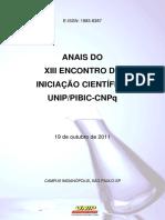Anais Do Xiii Encontro de Iniciação Científica Unip-pibic-cnpq