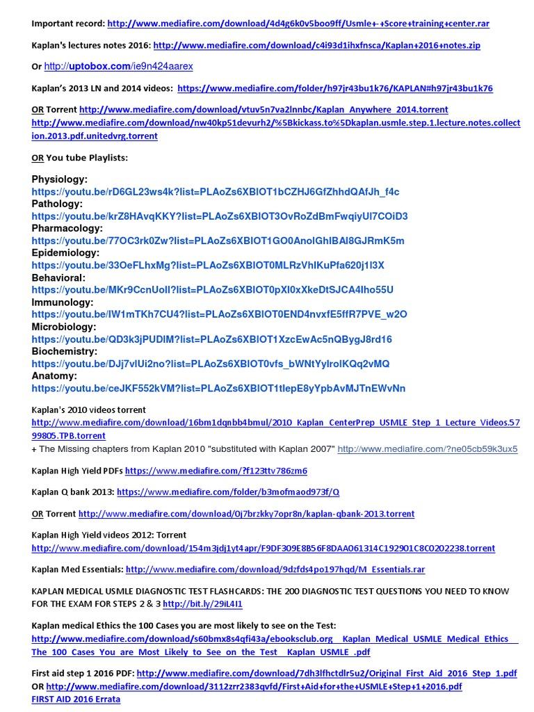 kaplan usmle step 1 videos 2010 torrent download