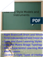Learning Style Models and Instruments