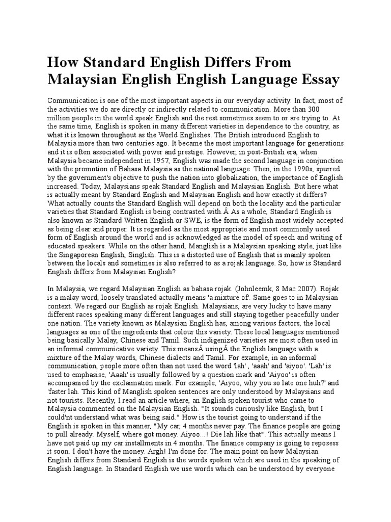 Example Thesis Statement Essay How Standard English Differs From Malaysian English English V  How Standard English Differs From Malaysian English English Language Essay  About  Examples Of Good Essays In English also Small Essays In English About English Language Essay Thesis Statement Example For Compare  Thesis Statement For Descriptive Essay