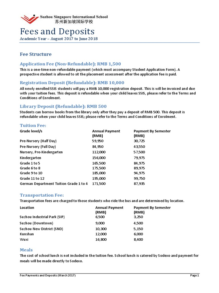 Fee Payments and Deposits 2017-2018 | Fee | Payments