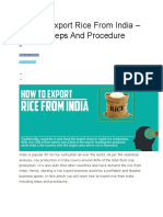 How to Export Rice From India