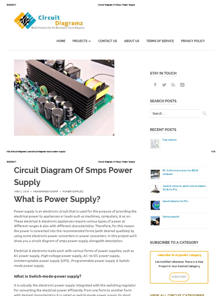 Circuit Diagram Of Smps Power Supply Is An Electronic Which Switched Mode Based Direct Current