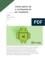 Cómo Eliminar Patrón de Bloqueo o Contraseña de Android Sin Resetearlo