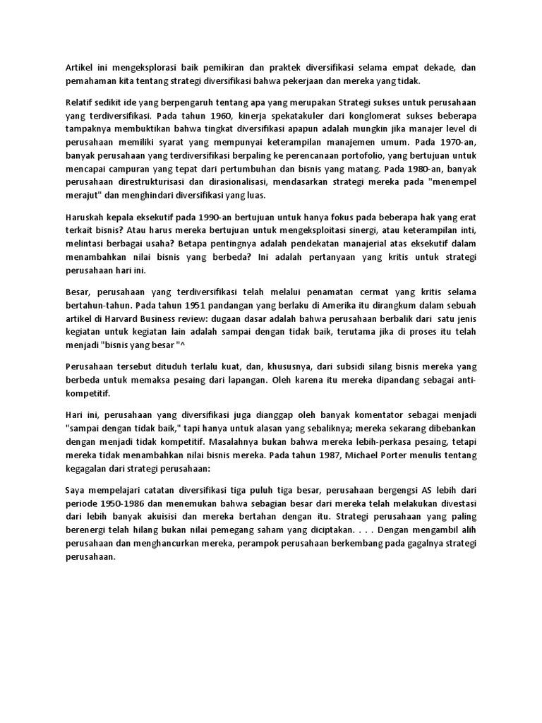 Strategi Perusahaan, Diversifikasi Dan Multibisnis Perusahaan