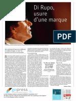 Di Rupo, usure d'une marque, La Libre Belgique - 23.08.2017