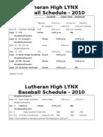 Baseball Schedule 2010