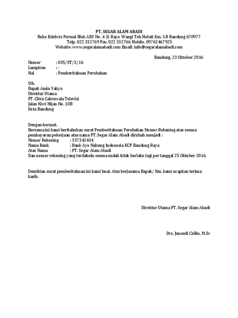 Contoh Surat Rasmi Pemberitahuan Program