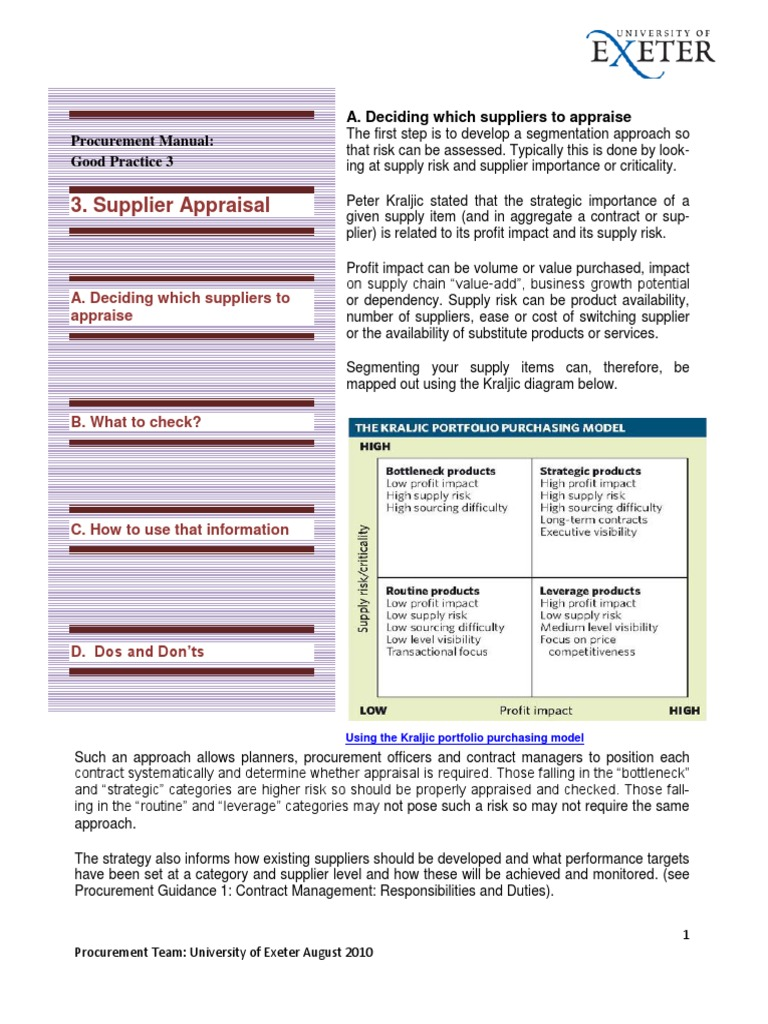 Supplier Appraisal_What to Check | Procurement | Supply Chain