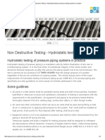 Non Destructive Testing - Hydrostatic Testing of Pressure Piping Systems in Practice