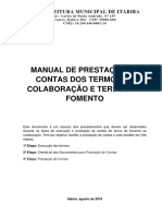 Manual de Prestação de Contas Dos Termos de Colaboração e Termos de Fomento - Itabira