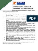 Australian Customs Qurantine Declaration - b534