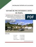 Estudio de Preinversion a Nivel de Perfil Sap Llacanora t