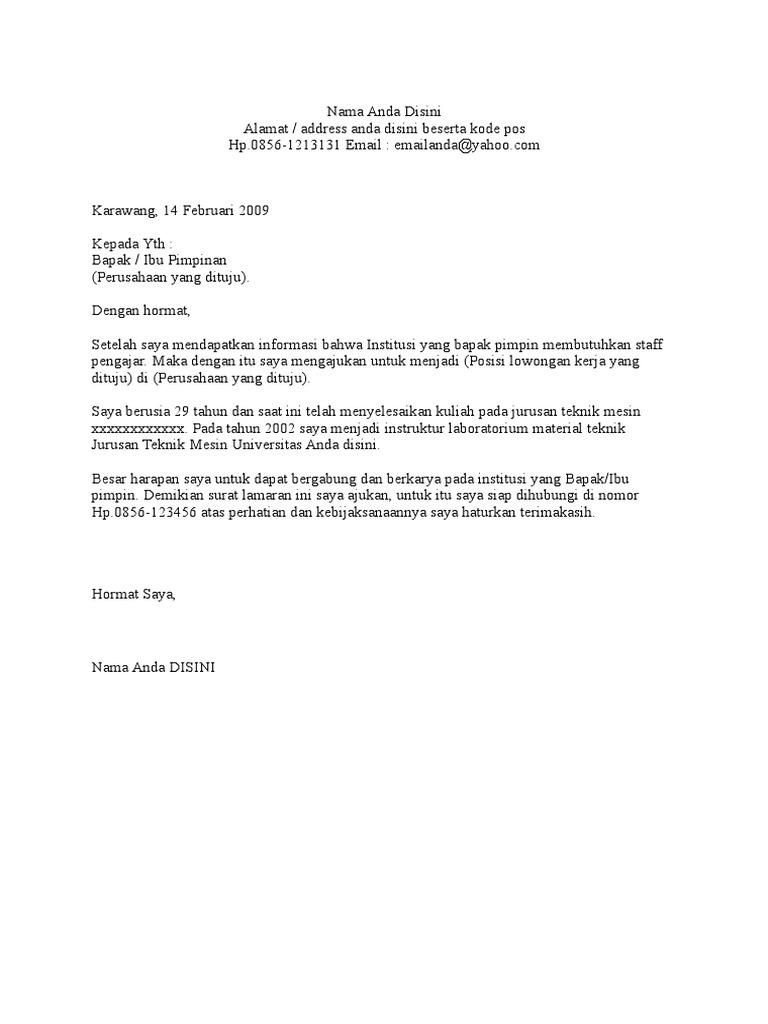Contoh Surat Lamaran Kerja Umumdoc