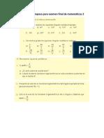 Actividad de Repaso Para Examen Final de Matemáticas 2
