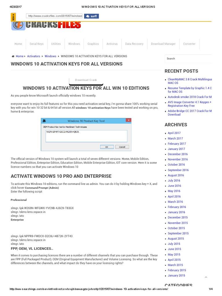 windows 10 enterprise registration key