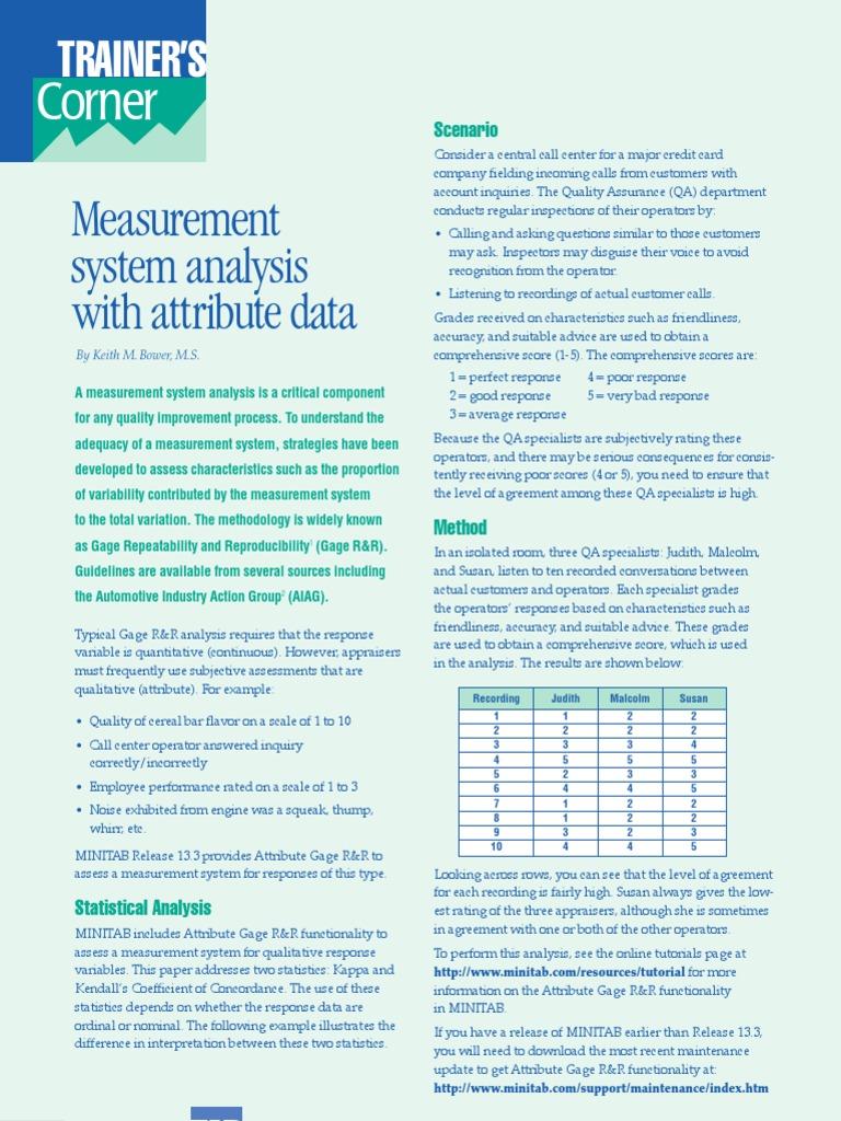 Msa With Attribute Data Statistics Quality Assurance