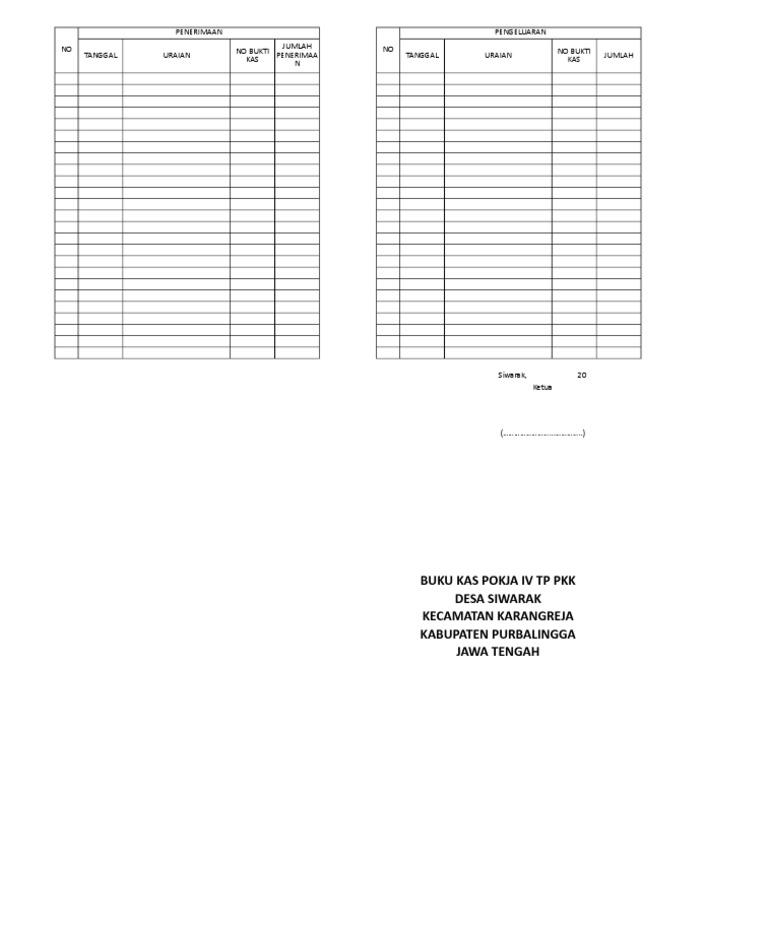 Format Buku Kas Pkk