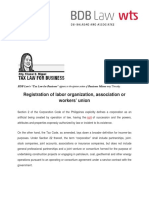 486. Registration of Labor Organization, Association or Workers' Union - 8 6 15
