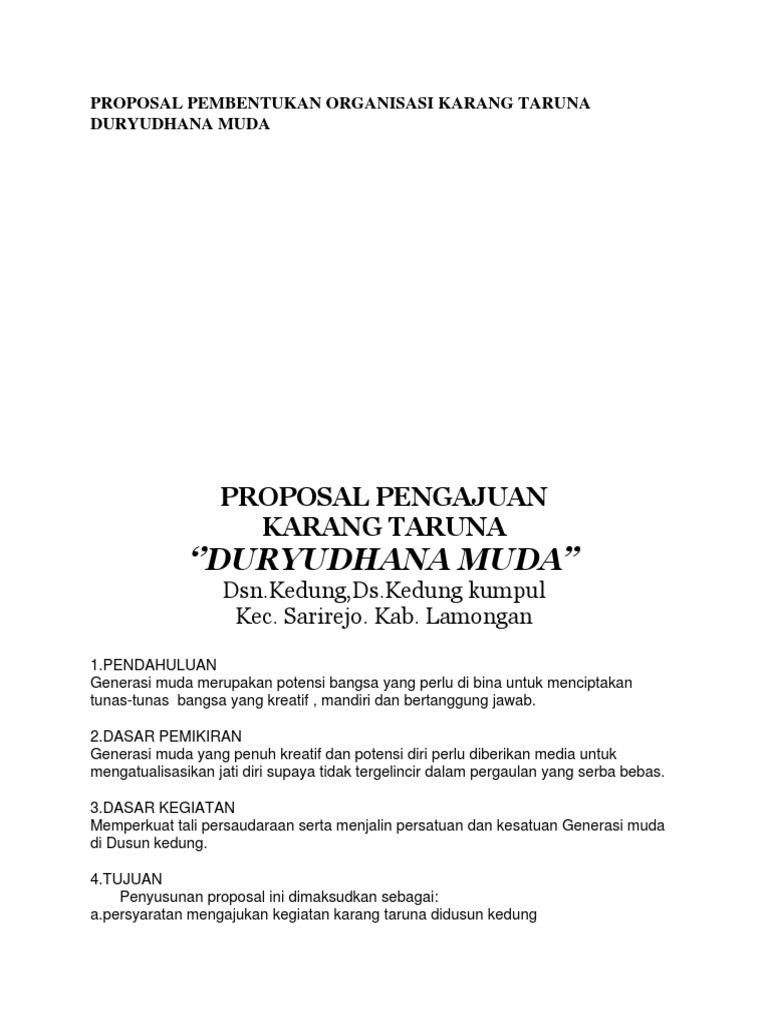 Proposal Pembentukan Organisasi Karang Taruna Duryudhana Muda