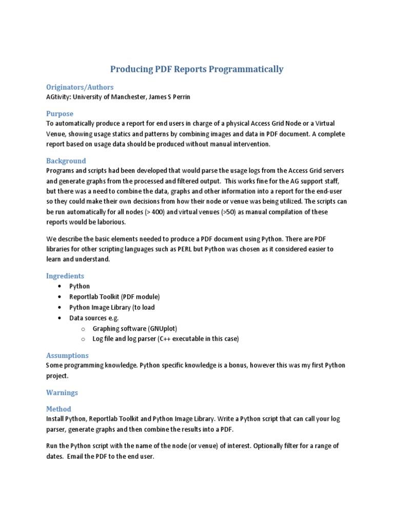 Producing PDF Reports Programmatically pdf