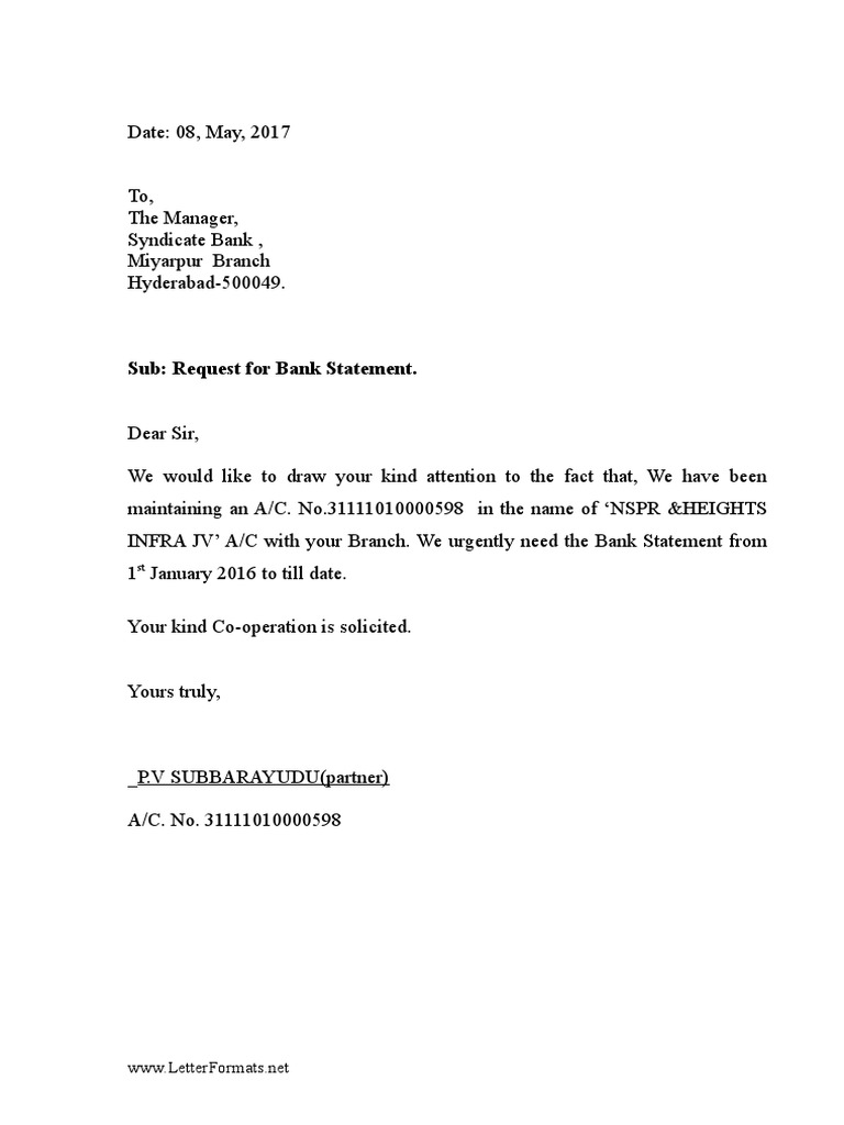 letter to bank manager requesting bank statement