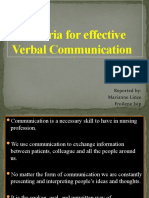 ♥Criteria for Effective Verbal Communication Report♥