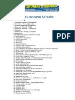 Canciones Concurso Karaoke