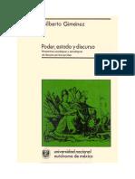 Poder, estado y discurso. Perspectivas sociológicas y semiológicoas del discurso político - jurídico. Gilberto Giménez