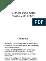 Pensamiento Critico Toma de Decisiones Solucion de Problemas