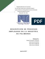 Polimeros - Descripción de Procesos Industriales