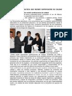 Industria Guatemalteca Que Recibió Certificación de Calidad
