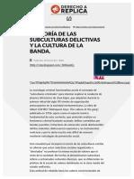 La Teoría de Las Subculturas Delictivas y La Cultura de La Banda