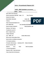 Ficha Cadastral e Lista de Documentos - Pós-graduação 2016-1