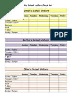 Weekly School Uniform Check List
