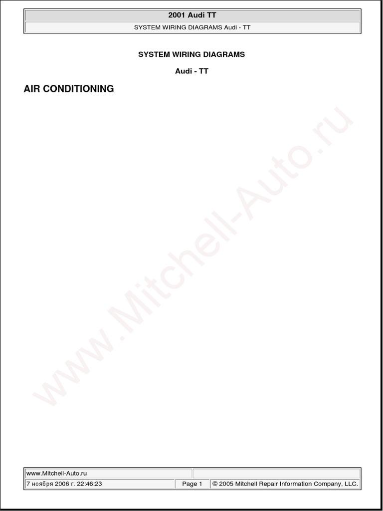 Audi Tt 2001 System Wiring Diagrams Pdf