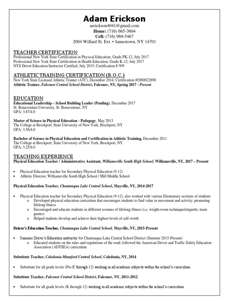 Pe resume physical education teachers 1betcityfo Choice Image