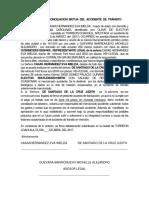 Contrato de Conciliacion Mutua Del Accidente de Tránsito