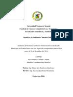 Auditoria de Gestion Al Gobierno Autonomo Descentralizado Municipal Del Canton Santa Ana Por El Periodo Comprendido Entre El 1 de Enero Al 31 de Diciembre Del 2014.