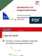 Sesión 01 - Introducción a Los Modelos de Programación Lineal