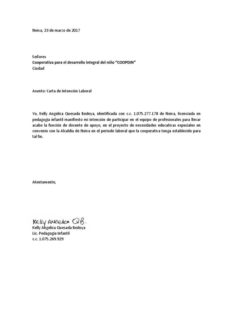 carta intencion laboral