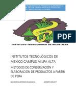 Conservación y Elaboracion de Productos Elaborados a Partir de Pera Tec n
