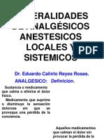 Generalidades de Analgésicos Anestesicos Locales y Sistemicos