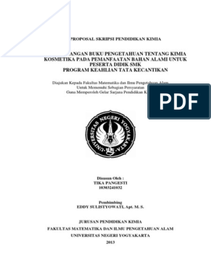 Contoh Proposal Skripsi Pendidikan Kimia Pdf Terkait Pendidikan