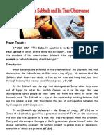 History of the Sabbath True Observance.