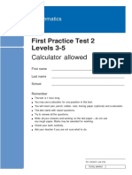 1st Practice Test 2 Levels 3-5 - With Calculator