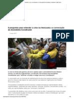 8 Perguntas Para Entender a Crise Na Venezuela e a Convocação Da Assembleia Constituinte - BBC Brasil