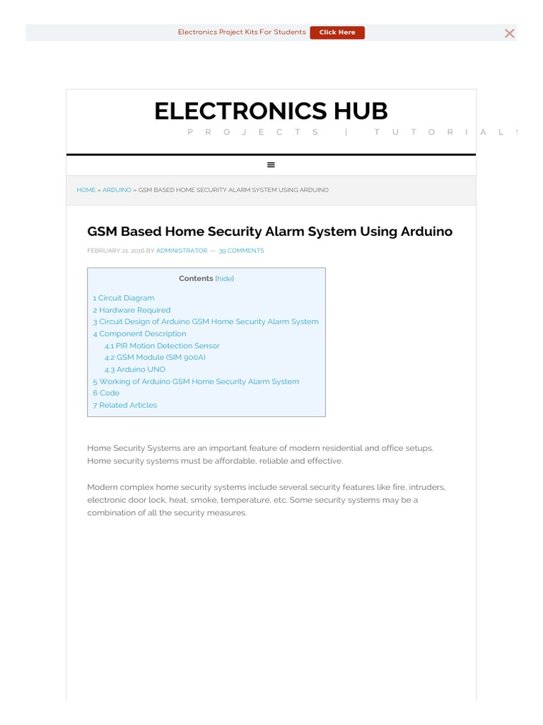 Gsm Based Home Security Alarm Arduino Sensor Circuit Diagram Further Pir Motion