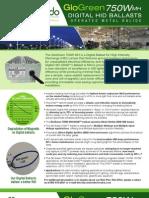 Accendo Electronics Digital HID (DHID) GloGreen 750W MH DHID Retrofit Ballast Operates Metal Halide